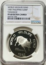NGC-PF68UC Philippines 1987 Tamaraw 200 Piso Silver Coin
