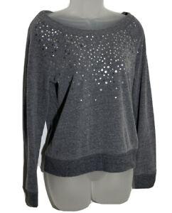 American Eagle Sequin Sweatshirt Top Small Petite Gray Off Shoulder Casual Shirt