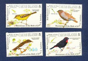 CAICOS ISLANDS - 60-63 - FVF MNH -  BIRDS  Audubon - 1985