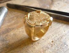 Chevalière or ronde avec pièce or 20 Francs Coq griffée avec douille