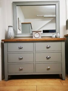 Hartwell Grey 6 Drawer Chest / Painted 6 Drawer Chest Storage Unit / Bedroom