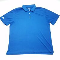 Adidas Golf Solid Blue Short Sleeve Polo Shirt Men's Size 2XL XXL Polyester
