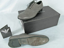 NEW! $495 Giorgio Armani Mens dress Shoes!  US 7.5   Gray Oxford Style Shoes