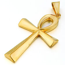 MENDINO Big Men's Stainless Steel Pendant Necklace Egyptian Ankh Cross Gold Tone