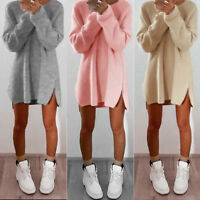 Femme ISASSY Pull Tricoté Robe Manches Longues  Haut Hiver Chandail Sexy fente
