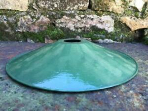 VINTAGE FRENCH ENAMEL GREEN COOLIE LIGHT SHADE 30 CMS