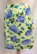 Talbots Light Green Straight Skirt Blue Hydrangeas sz 10