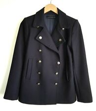 ZARA LADIES NAVY MILITARY PEA COAT SIZE M UK 8-10