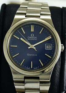 Vintage Omega Geneve Automatic Full Orginal Nice Condition Blue Dial 166.0173