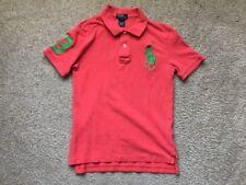 Boys Vintage Polo Ralph Lauren Peach Green Polo Shirt Size M
