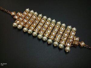 Traditional Bridal Kundan Bollywood Ethnic Gold Tone Women Bracelet Latest