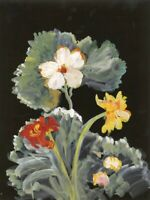 Gustave Bourgogne, Large Flowers – Original mid-20th-century gouache painting