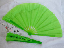 2 GREEN JAPANESE DANCE LEFT & RIGHT DANCE HAND FAN CHINESE FITNESS W WAVY EDGE