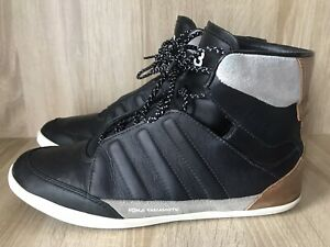 Adidas Y3 Honja High Black Leather Trainers Size UK 7