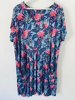Joe Browns Dress Size 18 short blue pink tropical floral summer beach casual