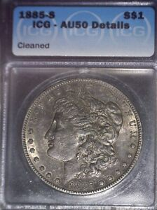 1885-S Morgan Silver Dollar, ICG AU50 , Tougher date