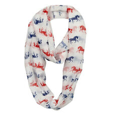 Infinity Scarf Lilia Galloping Horse White with Red and Blue Horses