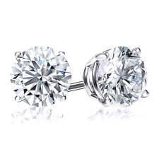 2 Ct Round Solid 14K White Gold Brilliant Cut Screw Back Basket Earrings Studs