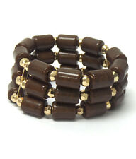 Brown 3 Layer Bar Acrylic Bead Yellow Gold Plated Fashion Stretch Bracelets