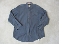 Orvis Long Sleeve Button Up Shirt Adult Medium Blue Orange Plaid Fisherman Mens