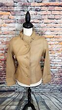 SOIA & KYO ARITZIA Women's Camel BROWN Soft LEATHER BUTTON Vespa MOTO Jacket XS