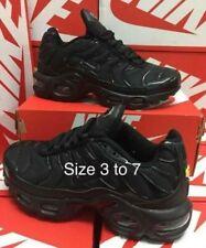 Nike AIR MAX PLUS full Black kids trainers UK Size 3-4-5-6-7 BRAND NEW