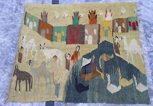 Old Handmade Turkish Kilim Rug Pictorial Wool Kilim Area Rug Tapestry 118x103 cm