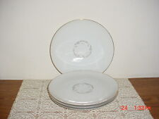 """4-PC KAYSONS """"GOLDEN FANTASY"""" 9 1/4"""" DINNER PLATES/WHT-SILVER-GOLD/FREE SHIP!"""