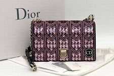 Authentic Christian Dior Diorama Sequin Bag Shoulder Clutch Chain Leather Purse