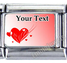 New Pink Red Flying Heart Design Custom Text 9mm Italian Photo Charm