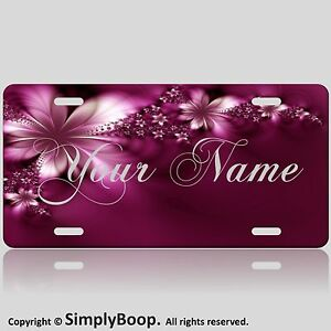 Personalized Your Text Name Custom License Plate Auto Car Tag Burgandy Flower 3