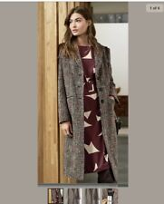 Next Ladies Tweed Style Check Collar Coat Size 10 with Pockets Smart RRP £68