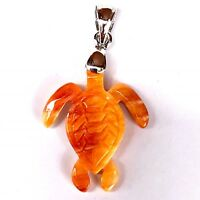 Spiny Oyster Shell Pendant Sea Turtle Sterling Silver Bail Hand Carved Orange