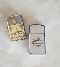 2 Old Vintage Miltary U.S.S Lighters. Beta One Hundred & Zippo. AS 35 - DE 745