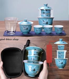 car travel tea set porcelain gaiwan tureen tea cup glass pitcher portable bag