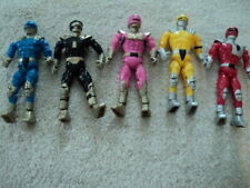 Set of Five Power Rangers Blue Yellow Red Black & Pink Good Condition No Reserve