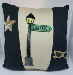 Rodeo Drive Bling Throw Pillow  Gold & Black Glittery Soft Fabric Sequin Patches