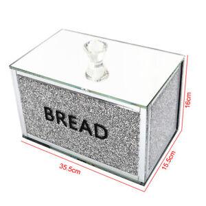 25/35cm Bread Bin Silver Diamond Crystal Mirrored Container Jar Kitchen Storage