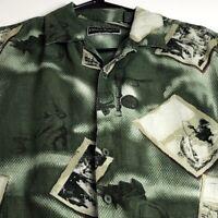 Field & Stream Men Short Sleeve Button Up Shirt Large Fishing Green Linen Rayon