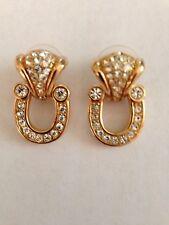 Swarovski Crystal Door Knocker Style Pierced Earrings Signed - Lovely! - New