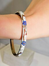 Vintage Thin Cloisonne Enamel Bangle Bracelet White Blue Pink Flowers  1H 39