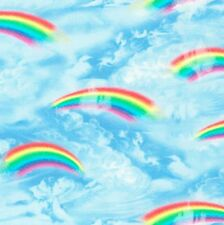 Timeless Treasures Fabric - Rainbows and Clouds - Blue - 100% Cotton