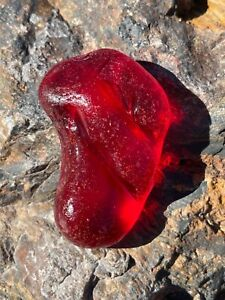 STUNNING JUICY RED PARTIAL SEAGLASS LENS SHARD WITH UV GLOW AND RIDGES XXXXXL!