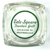 Tele-Square Fountain Grill Hollywood Vine Street CA Vintage AshTray Glass Round