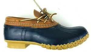 L.L. Bean Womens Duck Low Boots 5M Tan Leather Upper Blue Rubber Bottom New