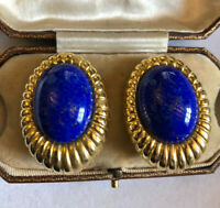 Vintage Statement Large Gold Tone Lapis Lazuli Clip On Earrings