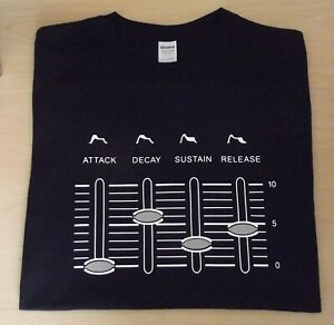 RETRO SYNTH T SHIRT SYNTHESIZER DESIGN ADSR SLIDERS 2  M L XL XXL