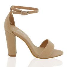 Womens Ankle Strap Sandals Block High Heel Ladies Peeptoe Bridal Party Prom Shoe