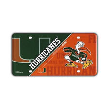 """Metal Vanity License Plate Tag Cover - University of Miami Hurricanes - 12"""" x 6"""""""