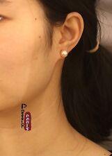 Orecchini`Orecchie A perno perla di coltura Placca Argento 925 Rosa 8mm-9mm
